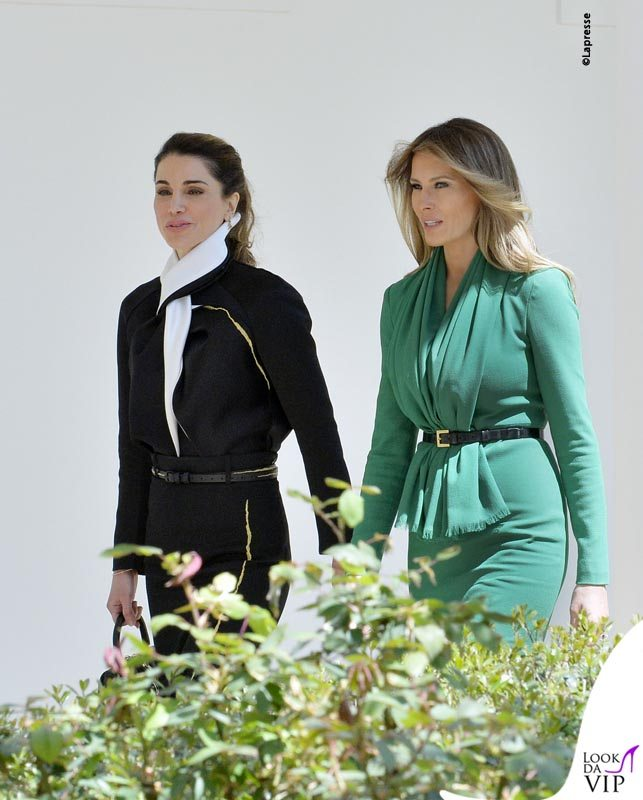First Lady Melania Trump and Queen Rania arrice at a joint press conference in the Rose Garden of the White House in Washington, DC, April 5, 2017.Photo by Olivier Douliery/ Abaca  588351 President Trump and King Abdullah II give a joint press conference . DC Il Presidente Donald Trump e la moglie Melanie incontrano il Re di Giodania Abdullah II e la moglie la Regina Rania Trump incontra il re Abdullah a Washington LaPresse  -- Only Italy